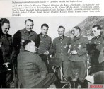 Partisan fighting in Croatia: Wolfgang Joerchel (sitting) in conversation with his young officers; in the middle: Hauptsturmführer Hans Meyer.