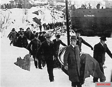 German dead being brought ashore from the German naval tanker Altmark.