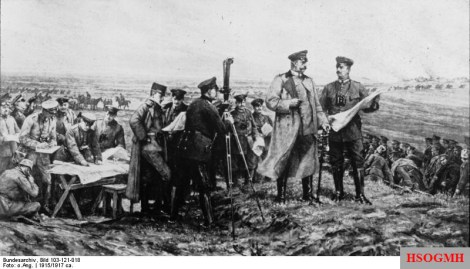 Hindenburg on the battlefield at Tannenberg.