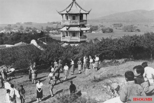 Young girl and BDM girl looking for Easter eggs in Wuxi,1934.