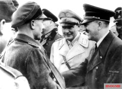 Hitler visiting Berlin defenders in early April 1945 with Hermann Göring, and the Chief of the OKW Field Marshal Keitel (partially hidden).