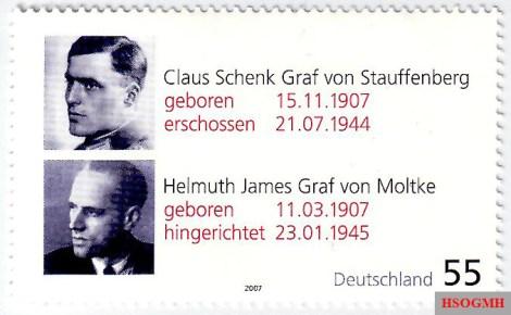 A German stamp of Claus Philipp Maria Schenk Graf von Stauffenberg and Helmuth James Graf von Moltke in commemoration of their 100th birthdays.