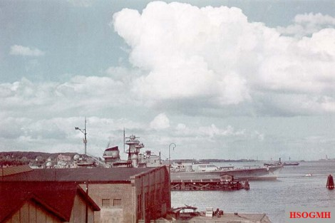 The Tirpitz in Scheerhafen, Kiel in June-August 1941.