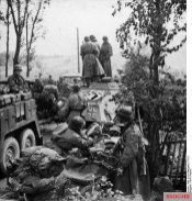Motorized troops of the 3rd SS Panzer Division Totenkopf division during Operation Barbarossa in September 1941.
