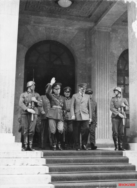 Antonescu, Keitel, and Adolf Hitler at the Führerbau in Munich, June 1941.