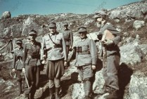 General der Gebirgstruppe Eduard Dietl (Kommandierender General Gebirgskorps Norwegen) with German and Finnish officers in the northern Russian tundra, July 1941.