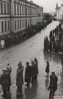 SS Galizien volunteers march on Kosciuszko Street in Sanok, May 1943