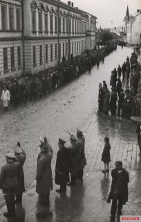 SS Galizien volunteers march on Kosciuszko Street in Sanok, May 1943