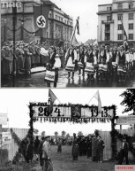District Galicia Spring 1943. Celebrations dedicated to the creation of the SS-Freiwilligen-Schützen-Division «Galizien». Regional recruitment center.