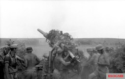 Germans fire an 88mm gun in Tunisia.