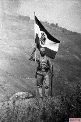 Schutztruppe Askari flag carrier, German East Africa, 1906.