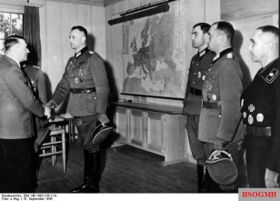Adolf Hitler presents awards to Heer officers; Bäke is on the right.