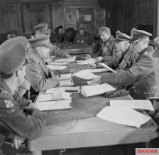 Blaskowitz (second from right) surrenders German forces in Holland to Canadian officers.