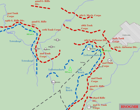 Soviet and German deployments near Prokhorovka on the eve of the engagement of 12 July. The blue dashed line shows the frontline positions of the divisions of the II SS-Panzer Corps in the evening of 11 July, and the red dashed line shows the position of Soviet forces directly opposing the II SS-Panzer Corps. The black dashed line shows the railway running from Prokhorovka southwest through the Psel corridor (the strip of land between the Psel River and a tributary of the Northern Donets River).