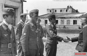 7 July 1942: Eisernes Kreuz II.Klasse award ceremony for the celebrated members of 15.(Spanische)Staffel, awarded by General der Flieger Robert Ritter von Greim (Oberbefehl über das Luftwaffenkommando Ost). The recipients, from left to right: Oberleutnant Federico Garret-Rueda, Hauptmann Bengoechea Menchaca, and Oberleutnant Emilio Barañano (Baraño).