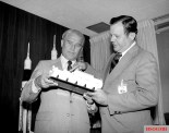 Von Braun and William R. Lucas, the first and third Marshall Space Flight Center directors, viewing a Spacelab model in 1974.
