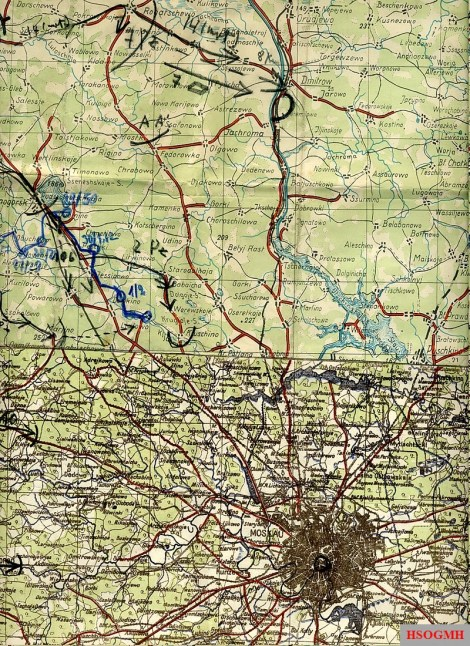Campaign map used by the reconnaissance battalion of the 7th Panzer Division during approach north of Moscow.