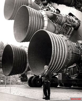 Von Braun with the F-1 engines of the Saturn V first stage at the U.S. Space and Rocket Center.