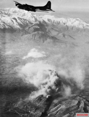 A B-17 Flying Fortress over Monte Cassino, 15 February 1944.