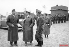 Bruno Loerzer (left), Galland (right) and Hermann Göring (centre), September 1940.