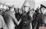 On 10 March 1943, Hitler flew in to Army Group South's HQ at Zaporozh'ye, Ukraine. Erich von Manstein is greeting Hitler; on the right are Wolfram von Richthofen and Baur.