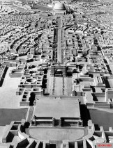 A model of Adolf Hitler's plan for Germania (Berlin) formulated under the direction of Albert Speer, looking north toward the Volkshalle at the top of the frame.
