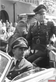 Albert Speer (front) and Erhard Milch (back) during a visit to an armaments factory.