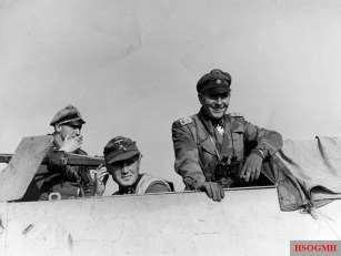 SS-Standartenführer Helmut Dörner (right), considered one of the finest officers in the 4. SS Panzergrenadier Division Polizei, is seen here in Hungary on the way to the main battle line to Budapest to prepared it for defence, October 1944.