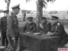 Generalleutnant Alfons Hitter, standing, interrogated by General Ivan Chernyakhovsky and Marshal of the Soviet Union Aleksandr Vasilevsky after the battle of Vitebsk