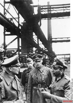 Kleist (left) inspects a large iron and steel works recently taken over by his troops, Ukraine, 1941.