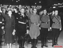 Gertrud Scholtz-Klink, Himmler, Hess, von Schirach and Axmann (from left) at a Hitler Youth rally, Berlin Sportpalast, 13 February 1939.