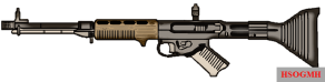 """FG 42, known informally as the """"early model"""" or """"Model I"""". Characteristic of the early models was the bipod placement (hinged to the barrel collar in front of the handguard), forged receiver, ribbed buttstock and the sharply angled pistol grip."""