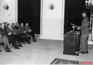 SS-Sturmbannführer der Reserve Dipl.-Ing. Otto Skorzeny spoke before the invited guests consisting of Nazi party officials, SS officers and Hitlerjugend figures. This photo was taken on January 1944 by Kriegsberichter Boesig.