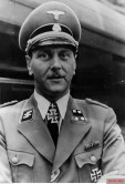 Otto Skorzeny, Major Waffen SS and Security Service, on the background of the train1