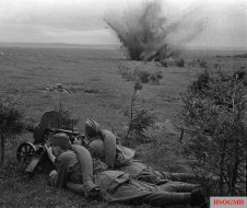 Soviet soldiers of the Western Front's 20th Army fighting on the Dnieper bank to the west of Dorogobuzh.