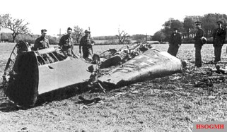 The wreckage of Hess's Messerschmitt Bf 110.
