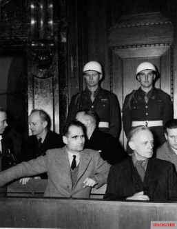 Hess (left) and Joachim von Ribbentrop in the defendants' box at the Nuremberg Trials.