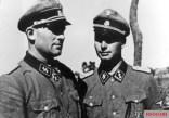"SS Sturmbannführer Theodor Wisch (commander of the 2nd Battalion of the Leibstandarte SS ""Adolf Hitler"") with his adjutant SS Obersturmführer Josef Diefenthal (right) on the Eastern Front, 1941."