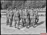 """""""Gestapo Müller"""" (front row, to the left) and Reinhard Heydrich visiting a war cemetery in Oslo, Norway in 1941."""
