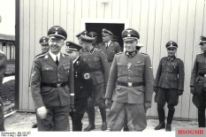 Franz Josef Huber (in doorway) with Heinrich Himmler, August Eigruber and other SS officers, at Mauthausen-Gusen concentration camp, June 1941.