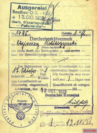 1938 Gestapo border inspection stamp applied when leaving Germany.