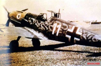"""A Messerschmitt Bf 109 E """"White 11"""" of II.Gruppe / Jagdgeschwader 54 (JG 54), handed over to a training unit after the first Bf 109 F fighters had arrived in the Russian theatre."""
