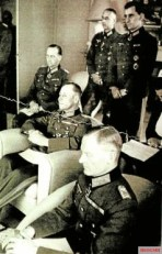 A meeting between the military resistance's inner circle and Rommel, Mareil-Marly, 15. May 1944. From left, Speidel - behind, Rommel - center, von Stülpnagel - front. The officer standing left is Rudolf Hartmann. The others are unknown.