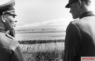 Rommel observes the fall of shot at Riva-Bella, just north of Caen in the area that would become Sword Beach in Normandy.