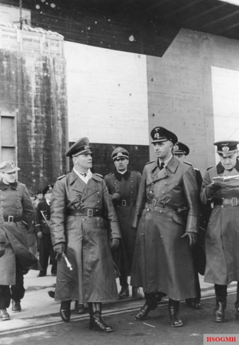 Rommel and Vice Admiral Friedrich Ruge visiting the U-boat base in La Rochelle, France, February 1944.