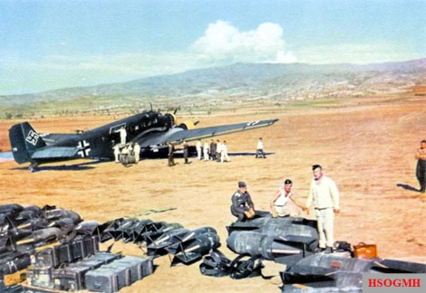 A Junkers Ju 52 3mg4e moving the supplies in preparation for Unternehmen Merkur (Operation Mercury), May 1941.