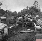 Finnish 7.5 cm Pak 40 antitank gun in action.