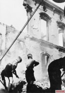 Hitler Youth doing the removal of the rubble caused by the bombing, 1943.