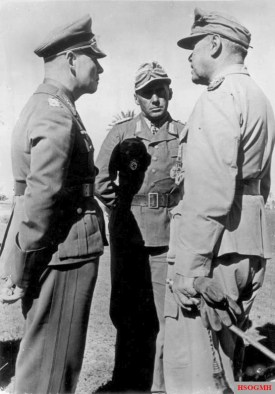 Meeting between Field Marshal Rommel (left), Colonel Bayerlein and Field Marshal Kesselring (right).