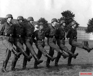 Recruits of the Waffen-SS training the goose step.